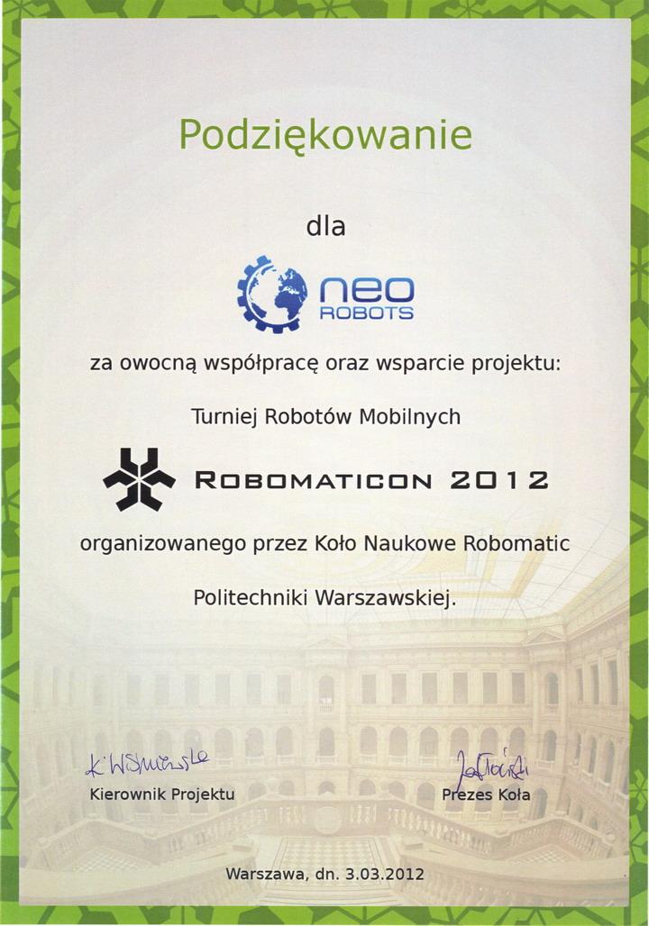 Dyplom Robomaticon